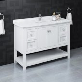 Manchester 48'' White Traditional Bathroom Vanity Base Cabinet w/ Top & Sink, Vanity: 48'' W x 20-2/5'' D x 34-4/5'' H