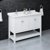 Manchester 48'' White Traditional Double Sink Bathroom Vanity Base Cabinet w/ Top & Sinks, Vanity: 48'' W x 20-2/5'' D x 34-4/5'' H
