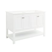 Manchester 48'' White Traditional Double Sink Bathroom Vanity Base Cabinet Only, Vanity Base Cabinet: 47-1/5'' W x 20'' D x 34'' H