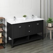 Manchester 60'' Black Traditional Double Sink Bathroom Vanity Base Cabinet w/ Top & Sinks, Vanity: 60'' W x 20-2/5'' D x 34-4/5'' H