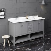 Manchester 60'' Gray Traditional Double Sink Bathroom Vanity Base Cabinet w/ Top & Sinks, Vanity: 60'' W x 20-2/5'' D x 34-4/5'' H