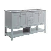 Manchester 60'' Gray Traditional Double Sink Bathroom Vanity Base Cabinet Only, Vanity Base Cabinet: 60'' W x 20'' D x 34'' H