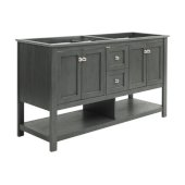 Manchester Regal 60'' Gray Wood Veneer Traditional Double Sink Bathroom Vanity Base Cabinet Only, Vanity Base Cabinet: 60'' W x 20'' D x 34'' H