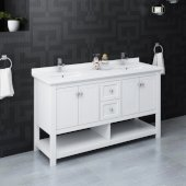 Manchester 60'' White Traditional Double Sink Bathroom Vanity Base Cabinet w/ Top & Sinks, Vanity: 60'' W x 20-2/5'' D x 34-4/5'' H