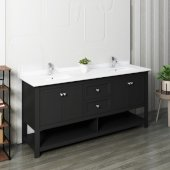Manchester 72'' Black Traditional Double Sink Bathroom Vanity Base Cabinet w/ Top & Sinks, Vanity: 72'' W x 20-2/5'' D x 34-4/5'' H