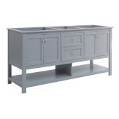 Manchester 72'' Gray Traditional Double Sink Bathroom Vanity Base Cabinet Only, Vanity Base Cabinet: 71-1/5'' W x 20'' D x 34'' H