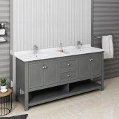 Manchester Regal 72'' Gray Wood Veneer Traditional Double Sink Bathroom Vanity Base Cabinet w/ Top & Sinks, Vanity: 72'' W x 20-2/5'' D x 34-4/5'' H