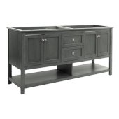 Manchester Regal 72'' Gray Wood Veneer Traditional Double Sink Bathroom Vanity Base Cabinet Only, Vanity Base Cabinet: 71-1/5'' W x 20'' D x 34'' H
