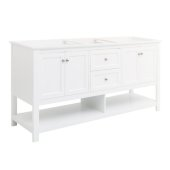 Manchester 72'' White Traditional Double Sink Bathroom Vanity Base Cabinet Only, Vanity Base Cabinet: 71-1/5'' W x 20'' D x 34'' H