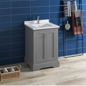 Windsor 24'' Gray Textured Traditional Bathroom Vanity Base Cabinet w/ Top & Sink, Base Cabinet: 24'' W x 20-3/8'' D x 34-5/16'' H