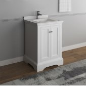 Windsor 24'' Matte White Traditional Bathroom Vanity Base Cabinet w/ Top & Sink, Base Cabinet: 24'' W x 20-3/8'' D x 34-5/16'' H