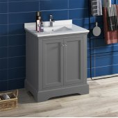 Windsor 30'' Gray Textured Traditional Bathroom Vanity Base Cabinet w/ Top & Sink, Base Cabinet: 30'' W x 20-3/8'' D x 34-5/16'' H