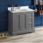 Windsor 36'' Gray Textured Traditional Bathroom Vanity Base Cabinet w/ Top & Sink, Base Cabinet: 36'' W x 20-3/8'' D x 34-5/16'' H