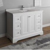 Windsor 48'' Matte White Traditional Bathroom Vanity Base Cabinet w/ Top & Sink, Base Cabinet: 48'' W x 20-3/8'' D x 34-5/16'' H