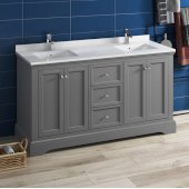Windsor 60'' Gray Textured Traditional Double Sink Bathroom Vanity Base Cabinet w/ Top & Sinks, Base Cabinet: 60'' W x 20-3/8'' D x 34-5/16'' H