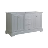 Windsor 60'' Gray Textured Traditional Double Sink Bathroom Cabinet, 59-5/8'' W x 20-5/16'' D x 33-1/2'' H
