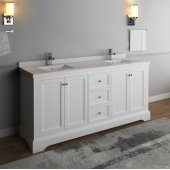 Windsor 72'' Matte White Traditional Double Sink Bathroom Vanity Base Cabinet w/ Top & Sinks, Base Cabinet: 72'' W x 20-3/8'' D x 34-5/16'' H