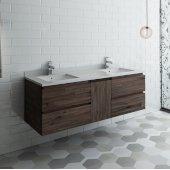 Formosa 60'' Wall Hung Double Sink Modern Bathroom Vanity Base Cabinet w/ Top & Sinks, Base Cabinet: 60'' W x 20-3/8'' D x 20-5/16'' H