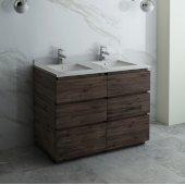 Formosa 48'' Floor Standing Double Sink Modern Bathroom Vanity Base Cabinet w/ Top & Sinks, Base Cabinet: 48'' W x 20-3/8'' D x 34-7/8'' H, 6 Drawers