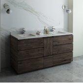 Formosa 72'' Floor Standing Double Sink Modern Bathroom Vanity Base Cabinet w/ Top & Sinks, Base Cabinet: 72'' W x 20-3/8'' D x 34-7/8'' H