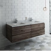 Formosa 60'' Wall Hung Double Sink Modern Bathroom Vanity Base Cabinet w/ Top & Sinks, Base Cabinet: 60'' W x 20-3/8'' D x 20-5/16'' H, 4 Drawers