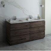 Formosa 72'' Floor Standing Double Sink Modern Bathroom Vanity Base Cabinet w/ Top & Sinks, Base Cabinet: 72'' W x 20-3/8'' D x 34-7/8'' H, 6 Drawers