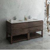 Formosa 72'' Floor Standing Open Bottom Double Sink Modern Bathroom Vanity Base Cabinet w/ Top & Sinks, Base Cabinet: 72'' W x 20-3/8'' D x 34-7/8'' H, 4 Drawers