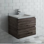 Formosa 24'' Wall Hung Modern Bathroom Vanity Base Cabinet w/ Top & Sink, Base Cabinet: 24'' W x 20-3/8'' D x 20-5/16'' H