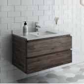 Formosa 36'' Wall Hung Modern Bathroom Vanity Base Cabinet w/ Top & Sink, Base Cabinet: 36'' W x 20-3/8'' D x 20-5/16'' H