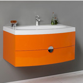 Energia 36'' Orange Modern Wall Mounted Bathroom Cabinet w/ Integrated Sink