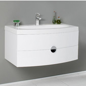 Energia 36'' White Modern Wall Mounted Bathroom Cabinet w/ Integrated Sink