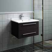 Lucera 24'' Espresso Wall Hung Modern Bathroom Vanity Base Cabinet w/ Top & Undermount Sink, Vanity: 24''W x 20-2/5''D x 15-4/5''H