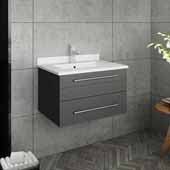 Lucera 24'' Gray Wall Hung Modern Bathroom Vanity Base Cabinet w/ Top & Undermount Sink, Vanity: 24''W x 20-2/5''D x 15-4/5''H