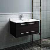 Lucera 30'' Espresso Wall Hung Modern Bathroom Vanity Base Cabinet w/ Top & Undermount Sink, Vanity: 30''W x 20-2/5''D x 15-4/5''H