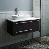 Lucera 36'' Espresso Wall Hung Modern Bathroom Vanity Base Cabinet w/ Top & Vessel Sink - Left Version, Vanity: 36''W x 20-2/5''D x 20-4/5''H
