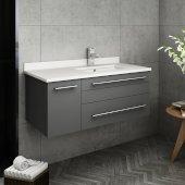 Lucera 36'' Gray Wall Hung Modern Bathroom Vanity Base Cabinet w/ Top & Undermount Sink - Right Version, Vanity: 36''W x 20-2/5''D x 15-4/5''H