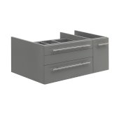 Lucera 36'' Gray Wall Hung Vessel Sink Modern Bathroom Vanity Base Cabinet Only - Left Version, 35-1/5''W x 20''D x 15''H