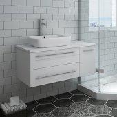 Lucera 36'' White Wall Hung Modern Bathroom Vanity Base Cabinet w/ Top & Vessel Sink - Left Version, Vanity: 36''W x 20-2/5''D x 20-4/5''H