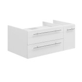 Lucera 36'' White Wall Hung Vessel Sink Modern Bathroom Vanity Base Cabinet Only - Left Version, 35-1/5''W x 20''D x 15''H