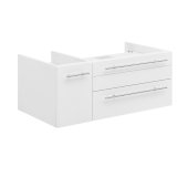Lucera 36'' White Wall Hung Vessel Sink Modern Bathroom Vanity Base Cabinet Only - Right Version, 35-1/5''W x 20''D x 15''H