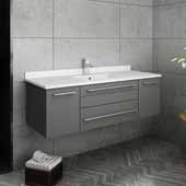 Lucera 48'' Gray Wall Hung Modern Bathroom Vanity Base Cabinet w/ Top & Undermount Sink, Vanity: 48''W x 20-2/5''D x 15-4/5''H