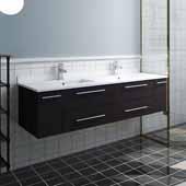 Lucera 60'' Espresso Wall Hung Modern Bathroom Vanity Base Cabinet w/ Top & Double Undermount Sinks, Vanity: 60''W x 20-2/5''D x 15-4/5''H