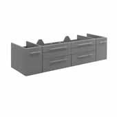 Lucera 60'' Gray Wall Hung Single Undermount Sink Modern Bathroom Vanity Base Cabinet Only, 59-1/5''W x 20''D x 15''H