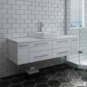 Lucera 60'' Gray Wall Hung Modern Bathroom Vanity Base Cabinet w/ Top & Single Vessel Sink, Vanity: 60''W x 20-2/5''D x 20-4/5''H