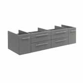Lucera 60'' Gray Wall Hung Double Vessel Sink Modern Bathroom Vanity Base Cabinet Only, 59-1/5''W x 20''D x 15''H