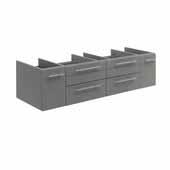 Lucera 60'' Gray Wall Hung Single Vessel Sink Modern Bathroom Vanity Base Cabinet Only, 59-1/5''W x 20''D x 15''H