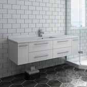 Lucera 60'' White Wall Hung Modern Bathroom Vanity Base Cabinet w/ Top & Single Undermount Sink, Vanity: 60''W x 20-2/5''D x 15-4/5''H
