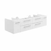 Lucera 60'' White Wall Hung Single Undermount Sink Modern Bathroom Vanity Base Cabinet Only, 59-1/5''W x 20''D x 15''H