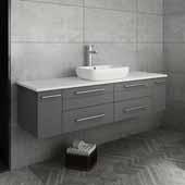 Lucera 60'' White Wall Hung Modern Bathroom Vanity Base Cabinet w/ Top & Single Vessel Sink, Vanity: 60''W x 20-2/5''D x 20-4/5''H