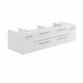 Lucera 60'' White Wall Hung Double Vessel Sink Modern Bathroom Vanity Base Cabinet Only, 59-1/5''W x 20''D x 15''H